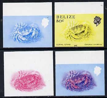 Belize 1984-88 Coral Crab 50c def imperf progressive marginal proofs in blue, red, red & blue and yellow & black, 4 proofs unmounted mint as SG 775
