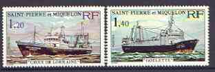 St Pierre & Miquelon 1976 Stern Trawlers set of 2 unmounted mint SG 550-51