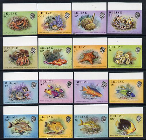 Belize 1984-88 Marine Life definitive set of 16 values each in unmounted mint matched marginal imperf singles (SG 766-81)