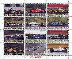 Udmurtia Republic 2000 Formula 1 perf sheetlet containing set of 12 values unmounted mint