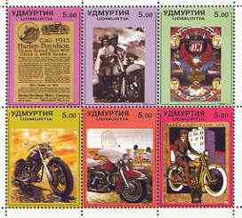 Udmurtia Republic 1999 Harley-Davidson Motorcycles perf sheetlet containing set of 6 values unmounted mint