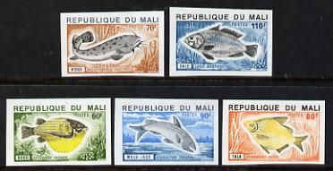 Mali 1975 Fish imperf set of 5 unmounted mint, as SG 484-8
