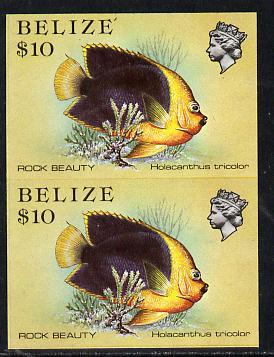 Belize 1984-88 Rock Beauty $10 def in unmounted mint imperf pair (SG 781)