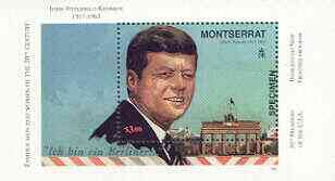 Montserrat 1998 Famous People of the 20th Century - JF Kennedy perf m/sheet opt'd SPECIMEN, unmounted mint SG MS 1085s