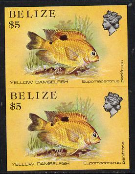 Belize 1984-88 Damselfish $5 def in unmounted mint imperf pair (SG 780)