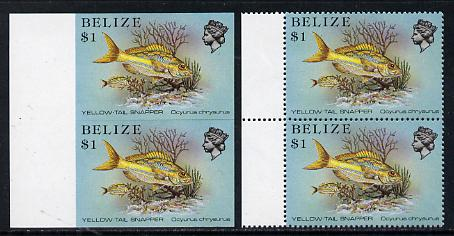 Belize 1984-88 Snapper fish $1 def in unmounted mint imperf pair plus normal pair(SG 778)