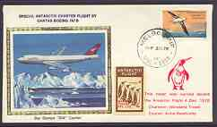 Australian Antarctic Territory 1978 Boeing 747 silk cover for Qantas Antarctic Charter Flight with Penguin label and Cachet