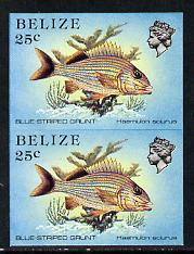 Belize 1984-88 Blue-striped Grunt 25c def in unmounted mint imperf pair (SG 774)