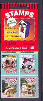Booklet - New Zealand 1997 Curious Letterboxes $4 self-adhesive booklet complete, SG SB86