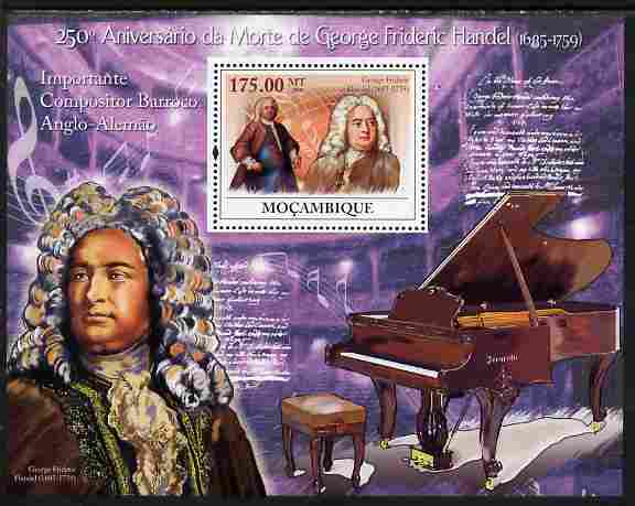 Mozambique 2009 250th Death Anniversary of George Frederic Handel perf souvenir sheet unmounted mint