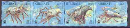 Kiribati 1998 WWF - Spiny Lobster strip of 4 unmounted mint, SG 552a