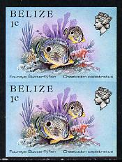 Belize 1984-88 Butterflyfish 1c def in unmounted mint imperf pair (SG 766)