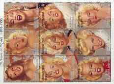 Montserrat 1995 Centenary of the Cinema (Marilyn Monroe) sheetlet containing 9 values, SG 956a