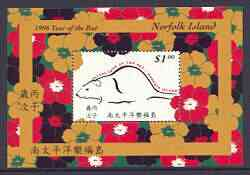 Norfolk Island 1996 Chinese New Year - Year of the Rat m/sheet unmounted mint, SG MS 619