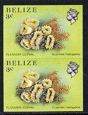 Belize 1984-88 Flower Coral 3c def in unmounted mint imperf pair (SG 768)