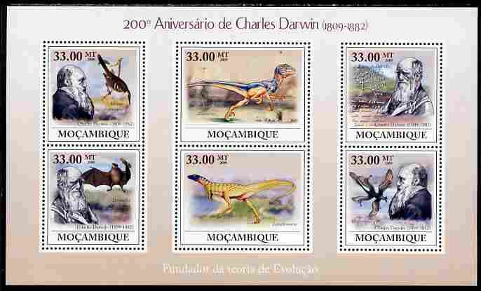 Mozambique 2009 200th Birth Anniversary of Charles Darwin perf sheetlet containing 6 vaues unmounted mint