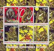 Congo 2000 Dinosaurs sheetlet containing 6 values unmounted mint