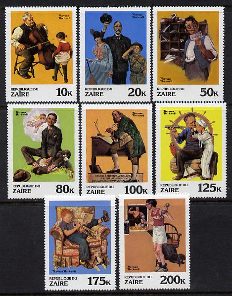Zaire 1981 Paintings by Norman Rockwell set of 8 (SG 1053-60) unmounted mint