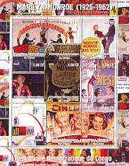 Congo 2000 Marilyn Monroe perf sheetlet #2 containing 9 values (Film posters) unmounted mint