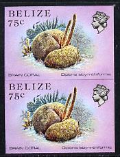 Belize 1984-88 Brain Coral 75c def in unmounted mint imperf pair (SG 777)