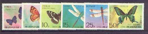 North Korea 1977 Butterflies & Dragonflies perf set of 6 unmounted mint, SG N1627-32