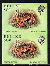 Belize 1984-88 Coral Crab 50c def in unmounted mint imperf pair (SG 775)