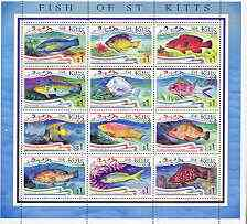 St Kitts 1997 Fishes perf sheetlet containing set of 12 values unmounted mint, SG 473a