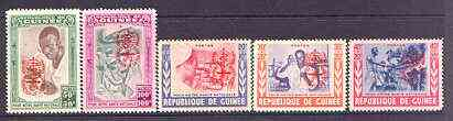 Guinea - Conakry 1962 National Helath set of 5 opt'd for Malaria Eradication in orange unmounted mint, Mi 95-99b