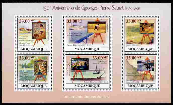 Mozambique 2009 150th Birth Anniversary of Georges-Pierre Seurat perf sheetlet containing 6 vaues unmounted mint