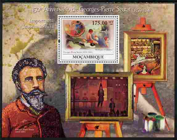 Mozambique 2009 150th Birth Anniversary of Georges-Pierre Seurat perf souvenir sheet unmounted mint