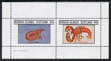 Bernera 1982 Shell Fish (Prawn & Lobster) perf set of 2 values (40p & 60p) unmounted mint
