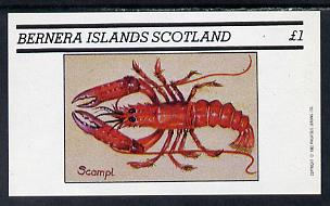 Bernera 1982 Shell Fish (Scampi) imperf souvenir sheet (�1 value) unmounted mint
