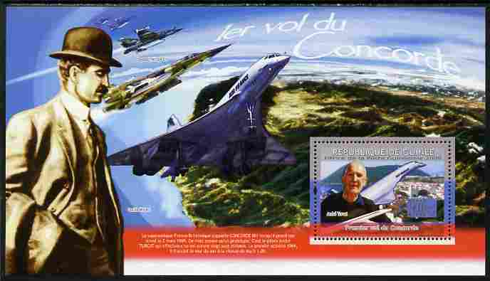 Guinea - Conakry 2009 First Flight of Concorde perf souvenir sheet unmounted mint