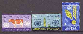 Egypt 1963 Freedom from Hunger perf set of 3 unmounted mint, SG 745-47