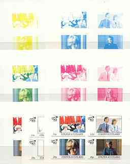 Staffa 1982 Princess Di's 21st Birthday imperf sheetlet containing set of 4 values, the set of 7 progressive colour proofs comprising the 4 individual colours plus 2, 3 and all 4-colour composites unmounted mint