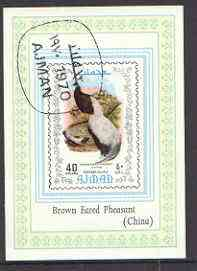 Ajman 1970 Brown Eared Pheasant imperf s/sheet cto used
