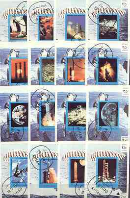 Ajman 1970 Apollo & Gemini Space Programmes, the complete set of 16 imperf s/sheets cto used, Mi BL 198-213