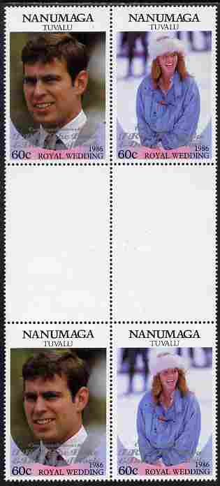 Tuvalu - Nanumaga 1986 Royal Wedding (Andrew & Fergie) 60c with 'Congratulations' opt in silver in unissued perf inter-paneau block of 4 (2 se-tenant pairs) unmounted mint from Printer's uncut proof sheet