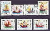 Vietnam 1991 500th Anniversary of Discovery of America by Columbus (2nd Issue) perf set of 7 unmounted mint, SG 1545-51, stamps on americana, stamps on ships, stamps on explorers, stamps on columbus