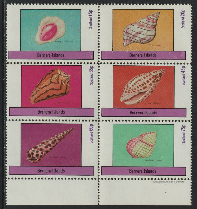 Bernera 1982 Shells (Money Cowrie) perf set of 6 values (15p to 75p) unmounted mint