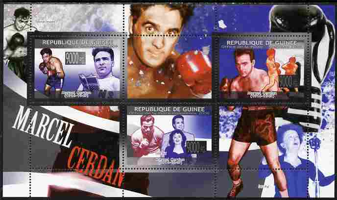 Guinea - Conakry 2009 Boxing - Marcel Cerdan perf sheetlet containing 3 values unmounted mint