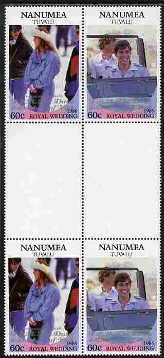 Tuvalu - Nanumea 1986 Royal Wedding (Andrew & Fergie) 60c with 'Congratulations' opt in silver in unissued perf inter-paneau block of 4 (2 se-tenant pairs) unmounted mint from Printer's uncut proof sheet