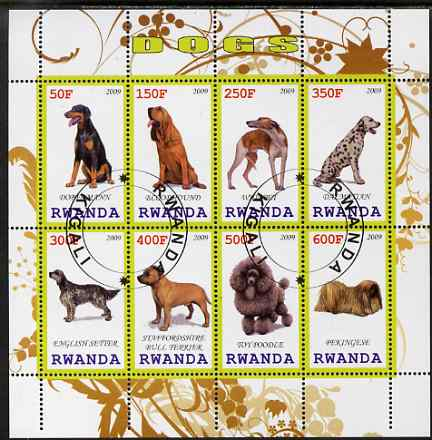 Rwanda 2009 Dogs perf sheetlet containing 8 values fine cto used