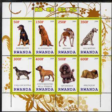 Rwanda 2009 Dogs perf sheetlet containing 8 values unmounted mint