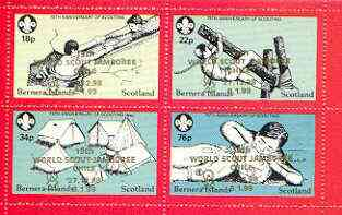 Bernera 1998 19th World Scout Jamboree opt'd in gold on 1982 75th Anniversary of Scouting perf set of 4 unmounted mint