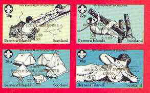 Bernera 1998 19th World Scout Jamboree opt'd in gold on 1982 75th Anniversary of Scouting imperf set of 4 unmounted mint