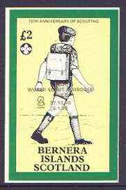 Bernera 1998 19th World Scout Jamboree opt'd in gold on 1982 75th Anniversary of Scouting imperf deluxe sheet �2 value unmounted mint