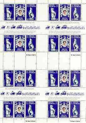 Falkland Islands Dependencies - South Georgia 1978 Coronation 25th Anniversary (QEII, Seal & Panther) in complete uncut sheet of 24 (8 strips of SG 67a) unmounted mint
