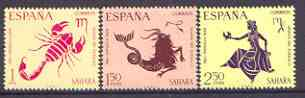 Spanish Sahara 1968 Child Welfare (Signs of the Zodiac) set of 3 unmounted mint, SG 262-64
