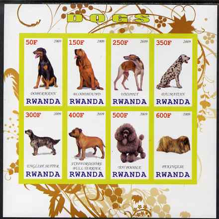 Rwanda 2009 Dogs imperf sheetlet containing 8 values unmounted mint
